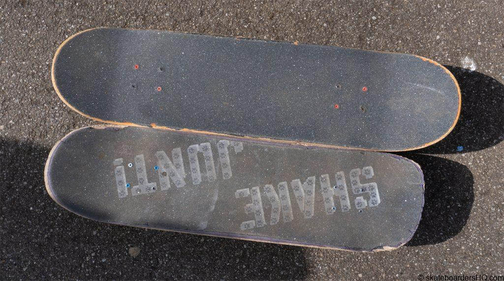 old skateboard deck next to a new deck