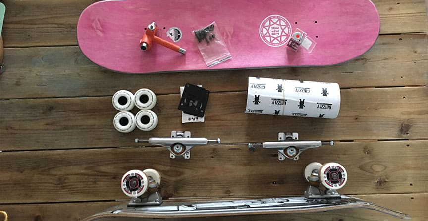 assembled skateboard and components