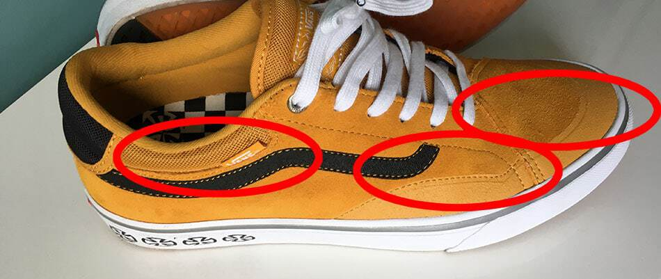 marked areas on skate shoes that are wear out