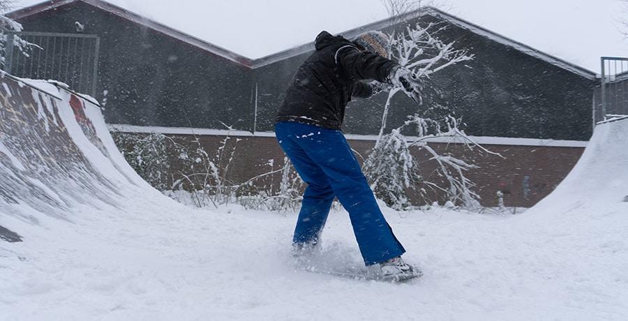 Skateboarder in the snow