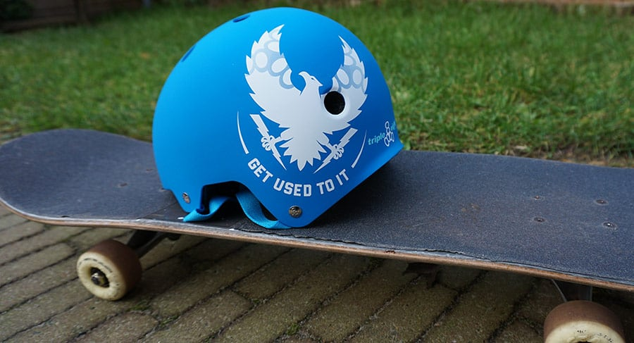helmet on a skateboard