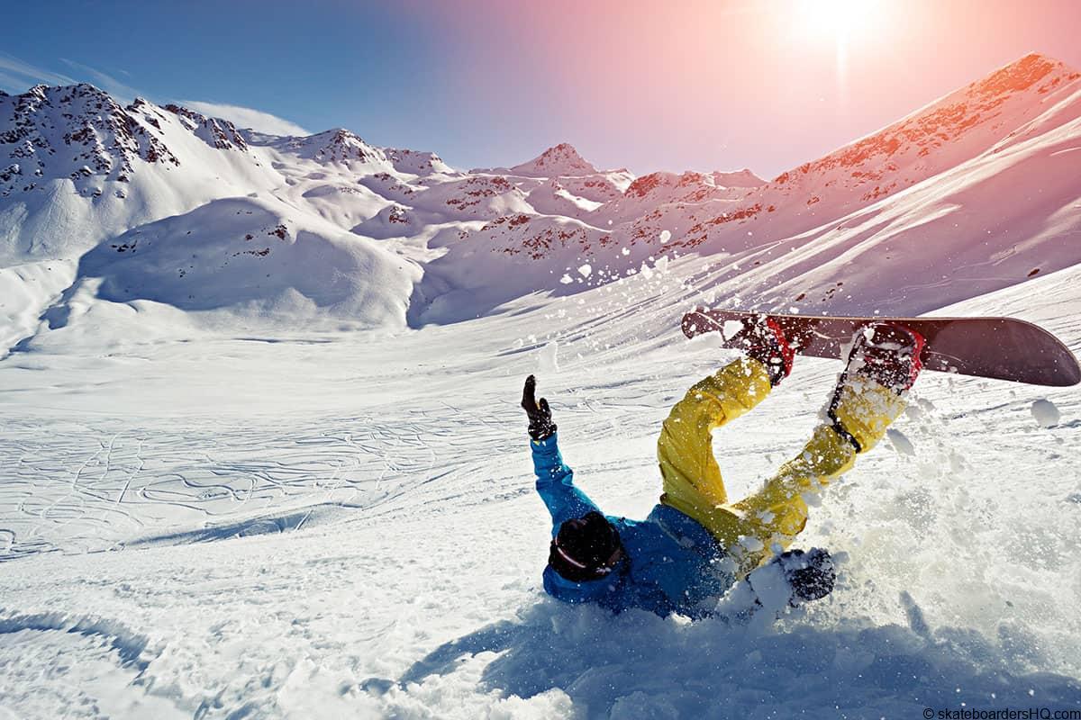 snowboarder crashing