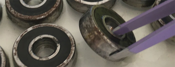 rusty skateboard bearings damaged by water