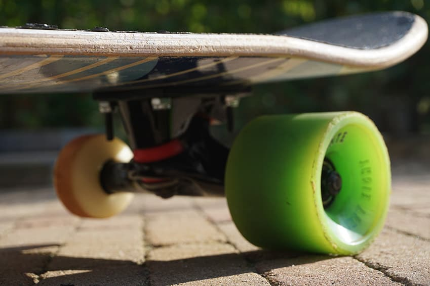 longboard wheel attached to a skateboard