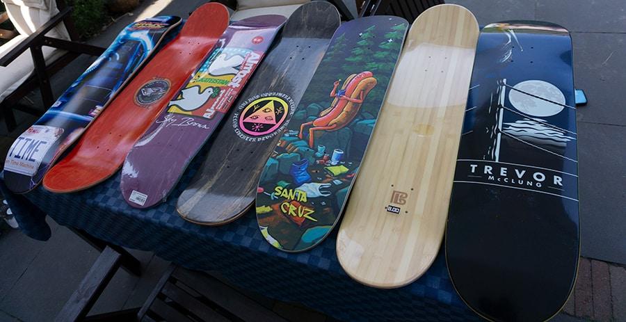 Skateboard decks on a table