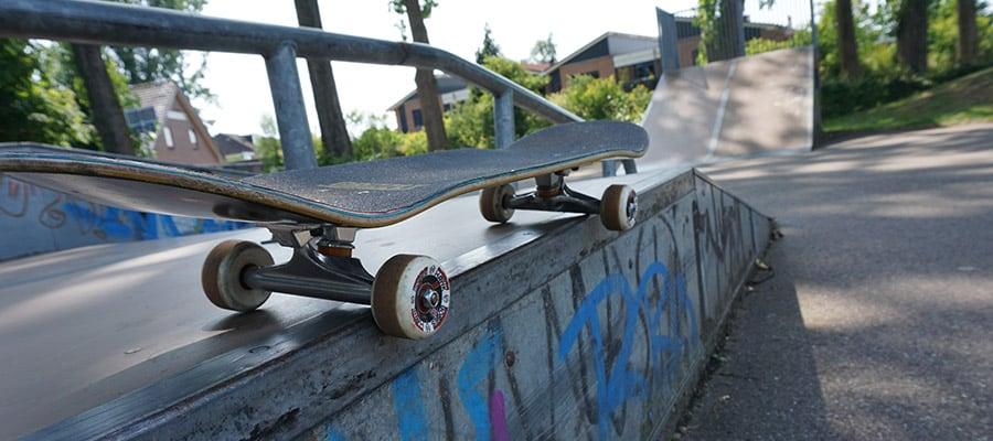 Street skateboard setup in a skate park