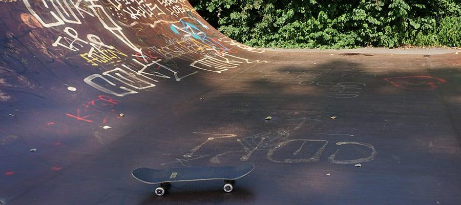 skateboard setup in a mini ramp