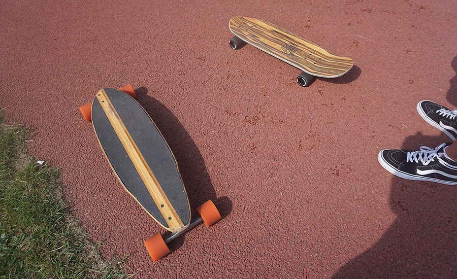 cruiser and a longboard for commuting