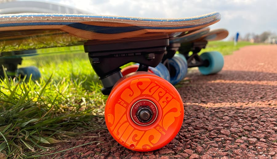 OJ super juice wheels on a cruiser board
