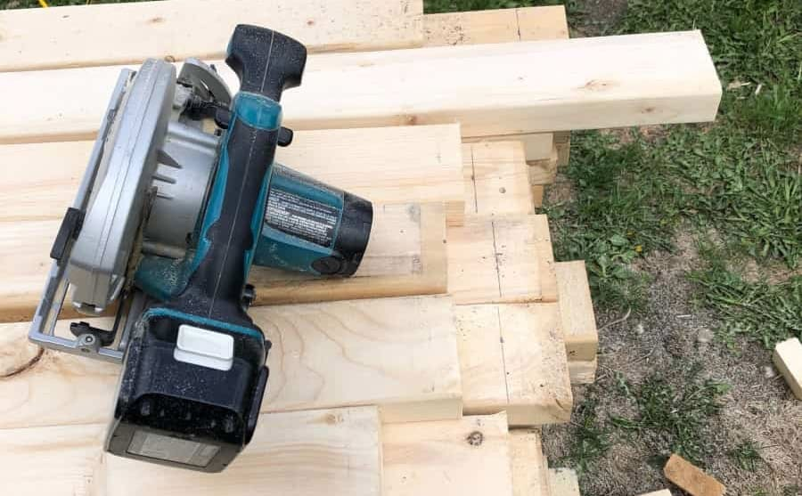 2x4 lumber and a circular saw