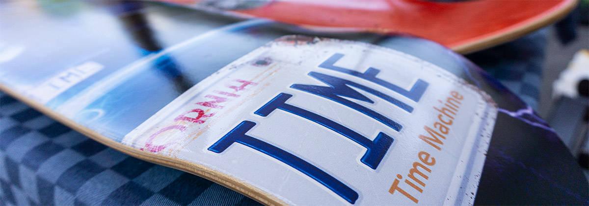 skateboard decks close up