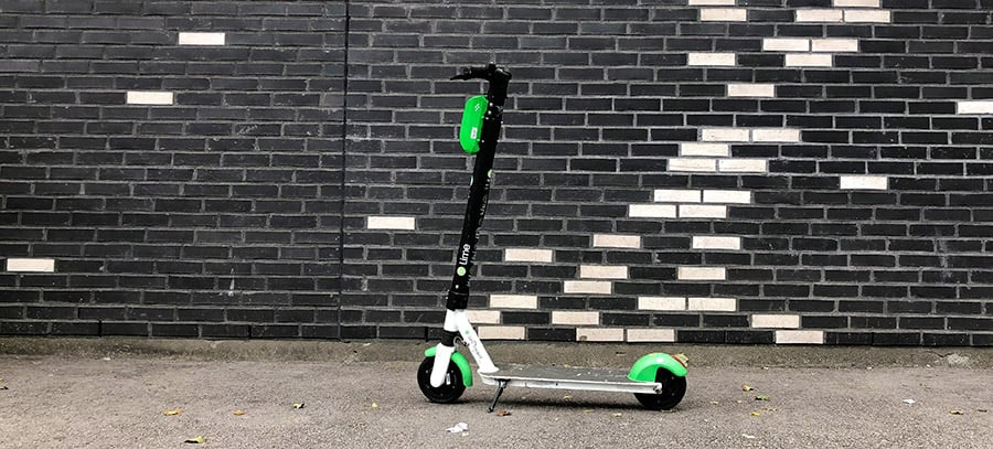 kick scooter parked on the street