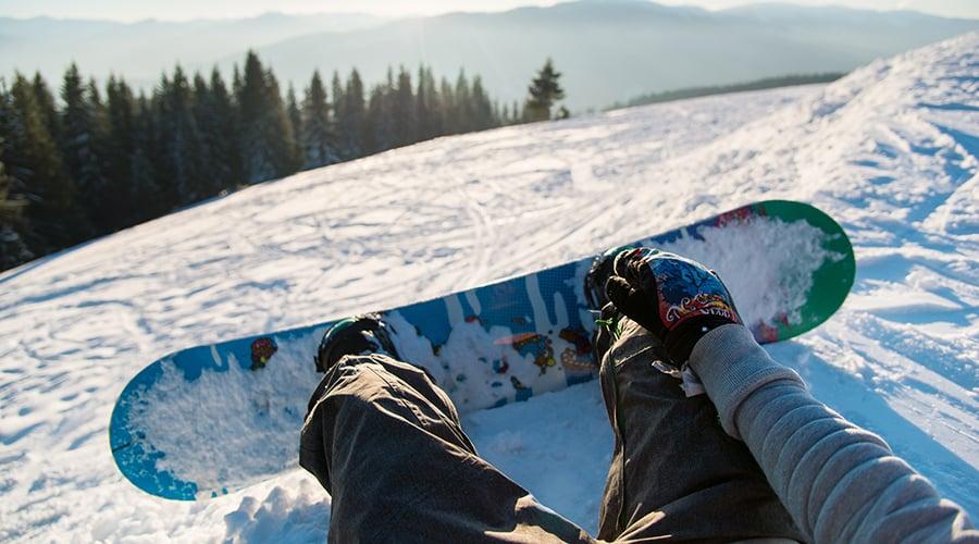 snowboard on a mountain