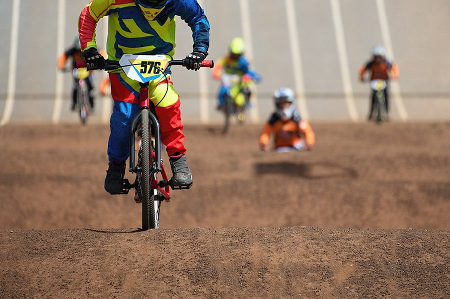 BMX racing bikes on a track