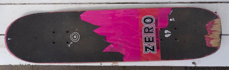 Zero skateboard deck wear