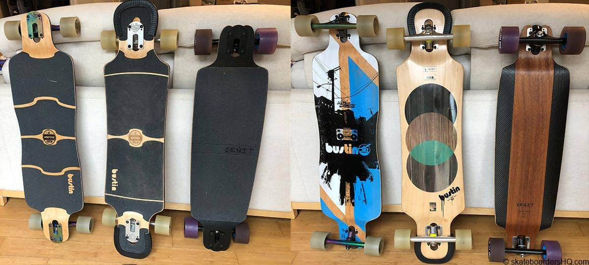 Bustin Sportster Bustin Maestro and Zenit AB 2.0 longboards