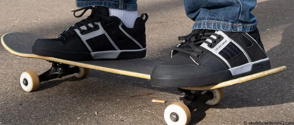 DVS Commanche 2.0 skate shoes on a skateboard