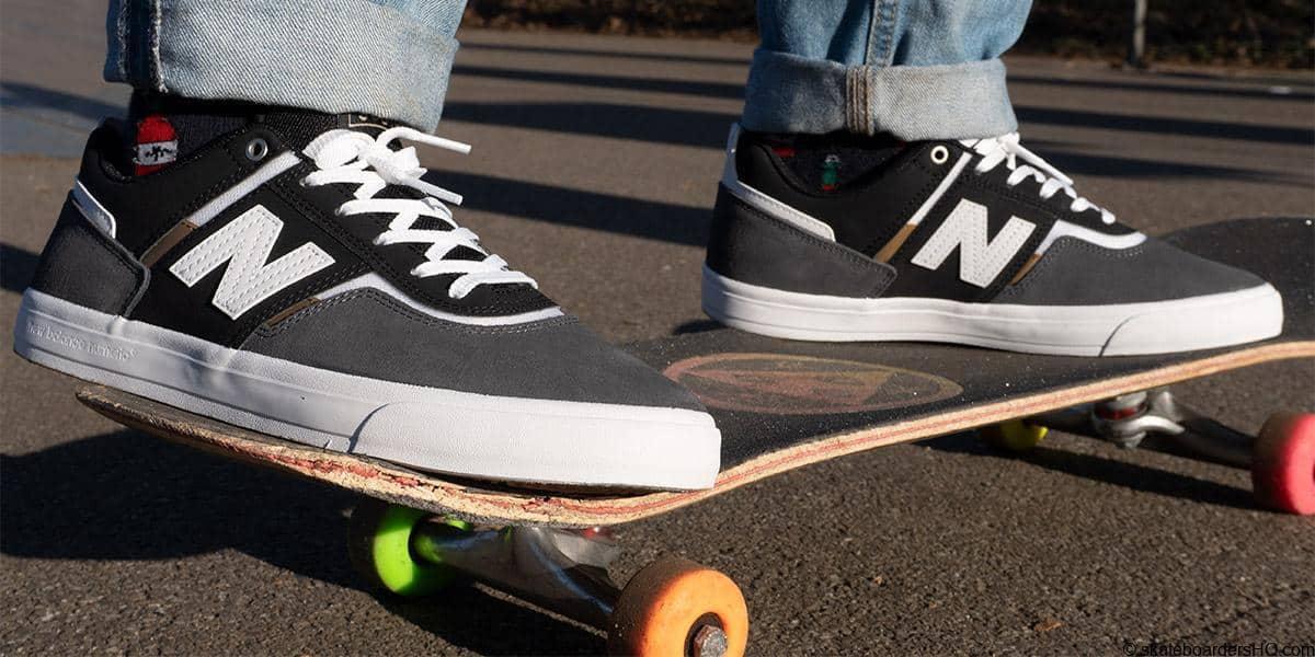 New Balance Numeric 306 skate shoes on a skateboard