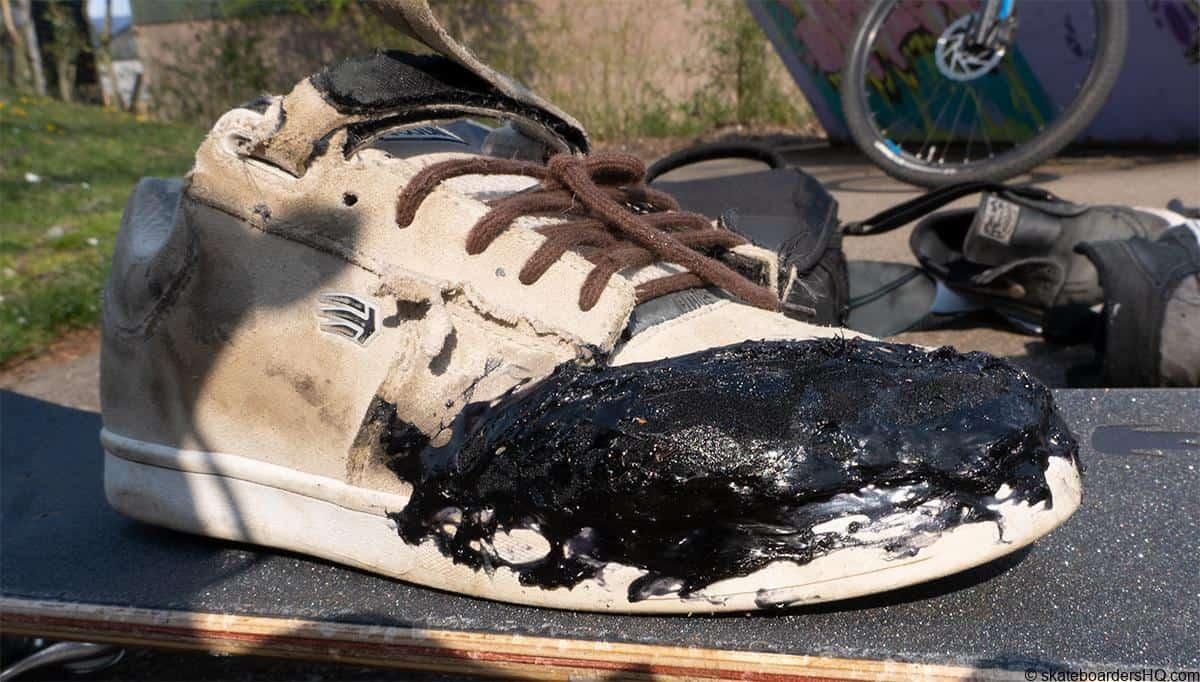 Repaired skate shoe