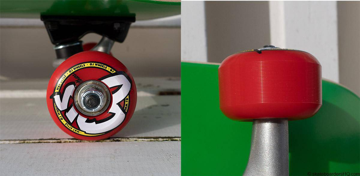 Santa Cruz kids skateboard OJ wheels close up