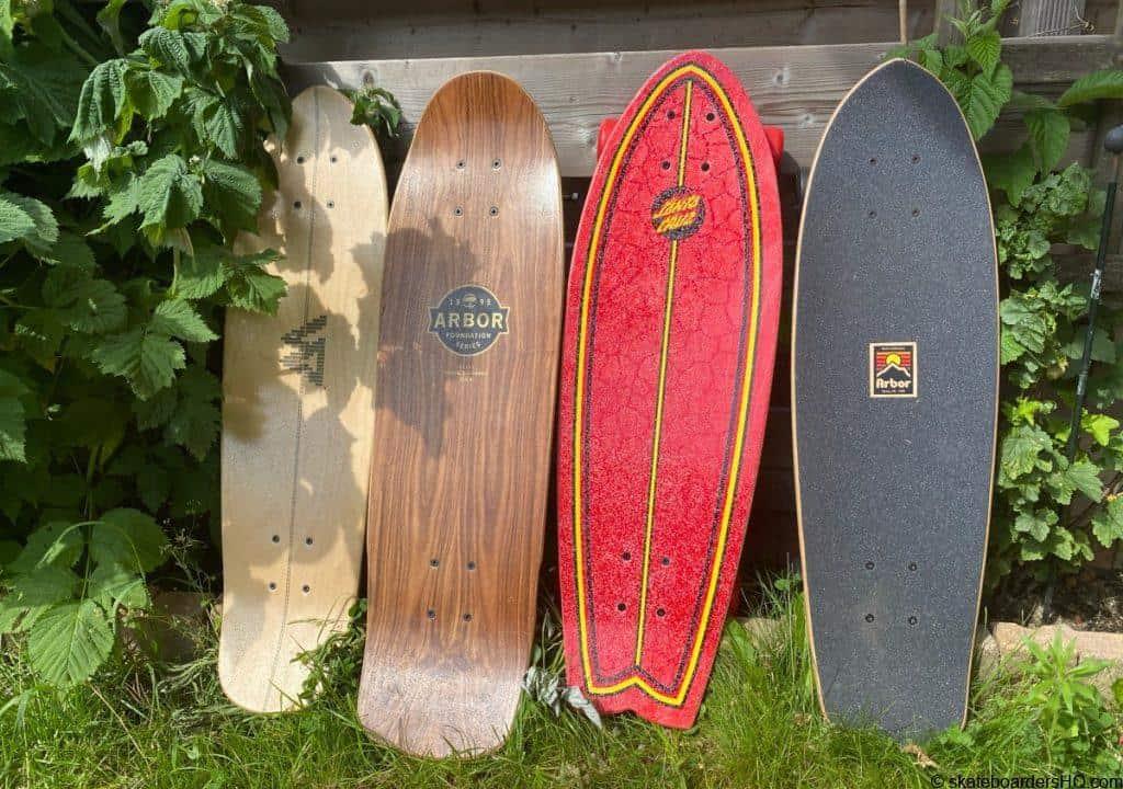 4 skateboard mini cruisers in a row