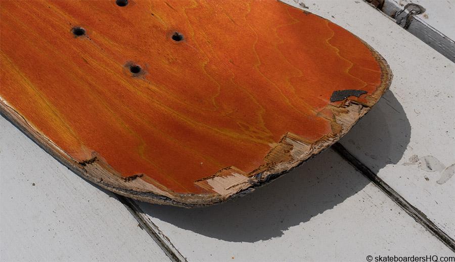 chipped skateboard deck