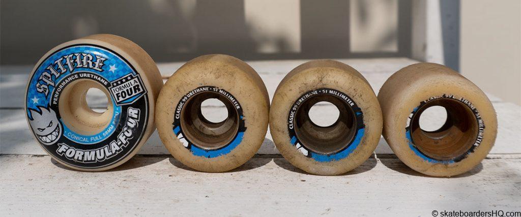 old vs new skateboard wheels wear